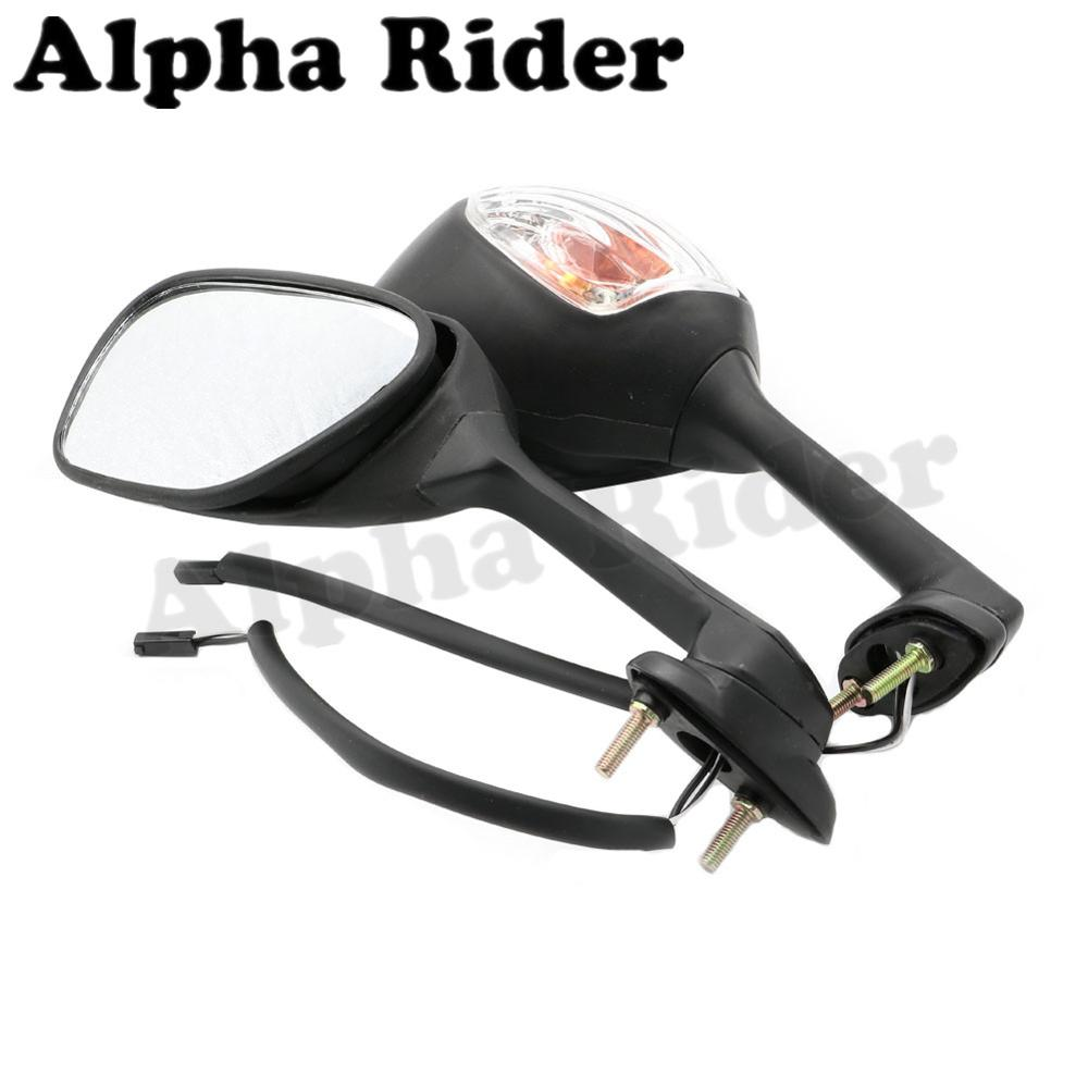 Motorcycle gloves gsxr - Motorcycle Rearview Mirrors Side Rear View Integrate Turn Signal Light Indicators For Suzuki Gsx R