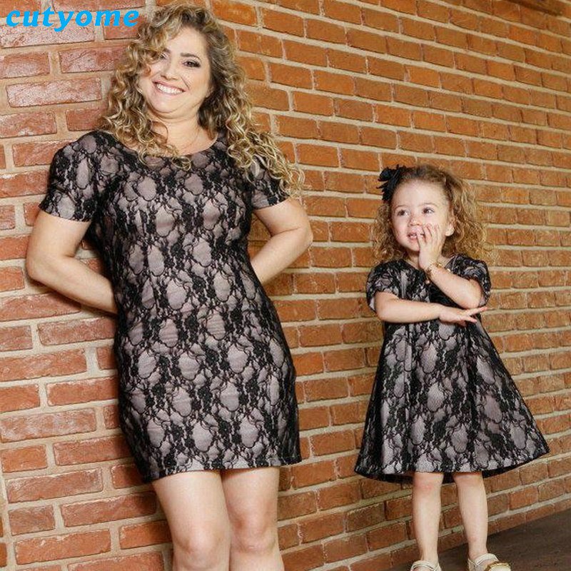 Mom And Daughter Lace Dress Family Look Mother Daughter Sexy Party Beach Dresses -5727