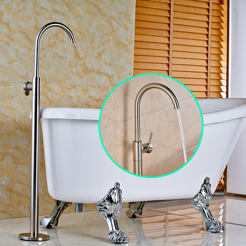 Stainless Steel Nickel Brushed Finished Floor Mounted Bathtub Faucet ...