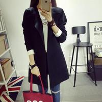 New Arrival 2015 Fashion Autumn Knitted Medium Long Long Sleeve Cardigan Top Outerwear Solid Color Women