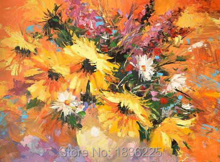 Flowers Oil Painting Oil Painting Sunflower Oil With Table Flower