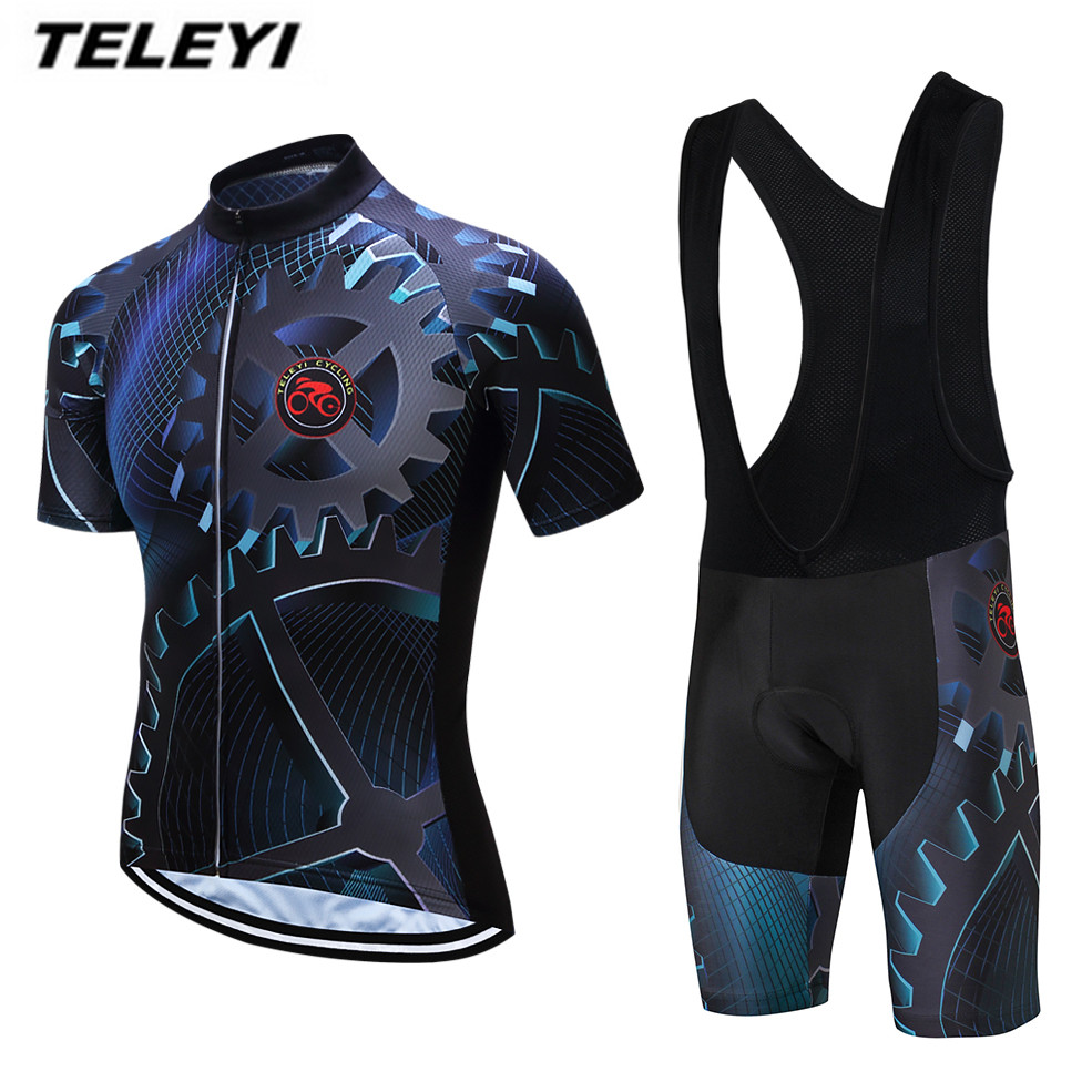 2018 TELEYI Gear Bike Jersey bib shorts set Men Cycling Clothing bicycle Top Suit Ropa Ciclismo maillot blouse MTB Shirts Sports 2017 cheji men and womens outdoor cycling jersey bike breathable bib shorts ropa ciclismo bicycle couples clothing sport suit