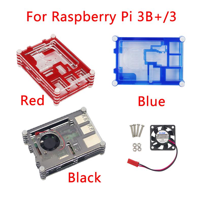 цена на Hot Raspberry Pi 3B+ Case 9 Layers Black Blue Red Acrylic Box Case with Cooling Fan for Raspberry Pi 3 Model B Case Fan Whosale