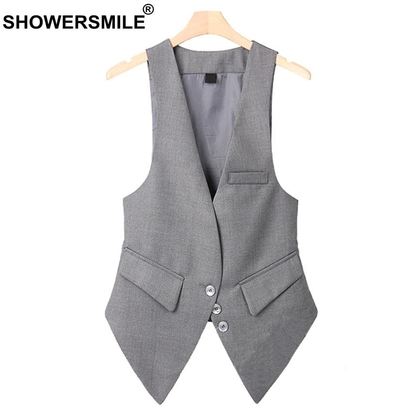 SHOWERSMILE Grey Plus Size Sleeveless Vest Women Autumn Slim Fit Waistcoat With Pockets Fashion Suit Chalecos Mujer