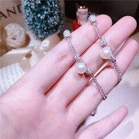 Atada pulseira S925 sterling silver micro-single pérola natural doce encantador moda jóias mulheres SL008