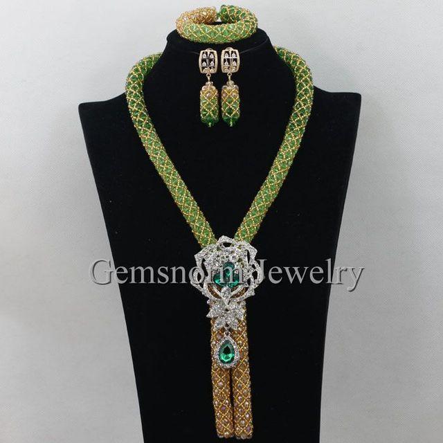 Mais recente de Ouro Verde Do Casamento Nigeriano Beads Africanos Set Jóias Colar de Cristal Traje Definido para Noivas Frete Grátis WA085