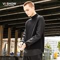 VIISHOW Turtleneck Sweater Men Leather Sleeve Patchwork Pullover Men Sweater Hip Hop Men Black Clothes ZC14763