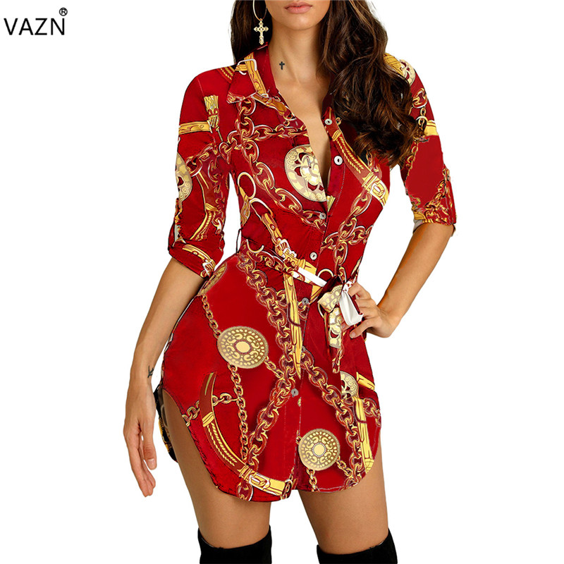 VAZN 2019 Muture Little <font><b>Chap</b></font> <font><b>Sexy</b></font> Style Office Chiffon Vintage Half Sleeve Button Young Lady of Note Lady Mini Dress SM1850 image