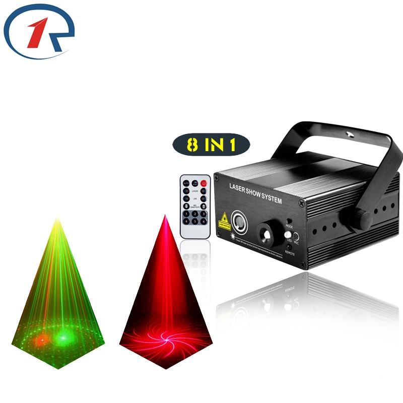 ZjRight IR Remote 8patterns Red Green laser lights Mix Blue LED stage light bar ktv disco dj light projection effect laser light цена