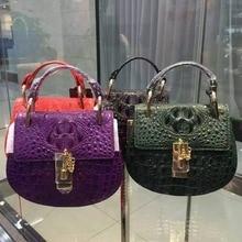 100% genuine crocodile leather skin circle shoulder bag cross body bag, alligator skin women clutch small bag daily bag