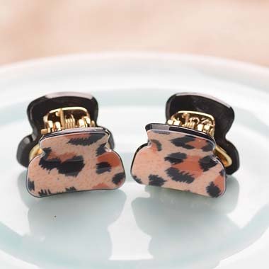 (2 PCS/LOTS) Fashion Acrylic Leopard Print Pattern Hair Claws Hair Accessories For Girls Mix Color Hair Ornaments