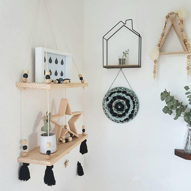 Minimalist Wall Hanging Floating Double Shelf Decor Nordic Style Peg People S Room