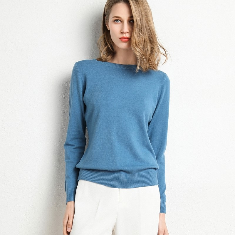 2019 New Female Slim Round Neck Pullover Sweater Autumn And Winter Long-sleeved Knit Bottoming Shirt Large Size
