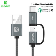 FLOVEME Quick Lading QC 3.0 Micro USB Kabel Voor Samsung S7 S6 HTC M8 M9 2 in 1 USB Type C Kabel Voor Samsung S8 S9 Huawei P10(China)