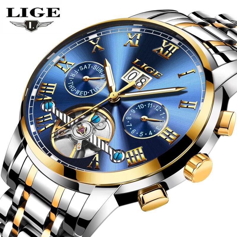 LIGE Mens Relógios Top Marca de Luxo relogio masculino de Negócios de Moda Relógio Automático Homens de Aço Completa Relógio de Pulso À Prova D' Água