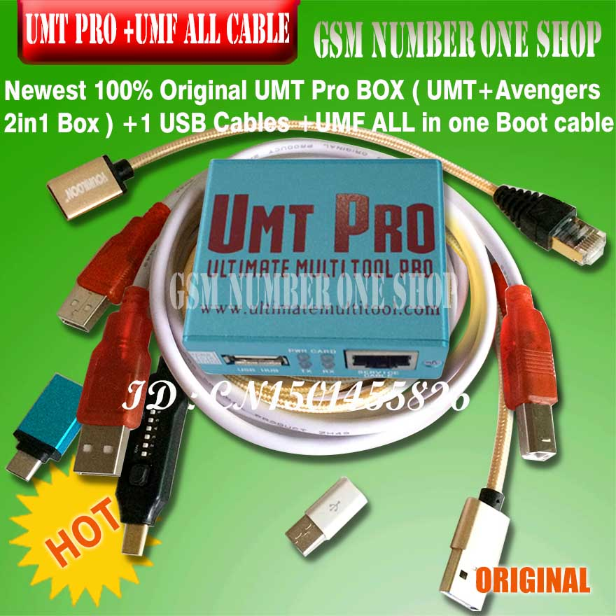 Newest 100% Original UMT Pro BOX UMT Umt Pro Tool + Avengers 2in1 Box With 1 USB Cables + Umf All Boot Cable Set