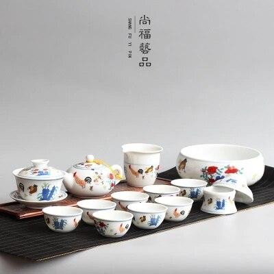 Ensemble de thé en céramique antique Daming Chenghua poulet cylindre tasse à café ensemble de thé chinois Kungfu thé bol Gaiwan théière tasse
