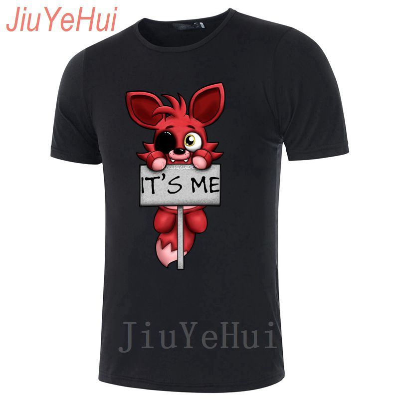 Short Sleeve Fnaf Plush Foxy Men T-shirt Summer Hip Hop Tee Shirt Cotton O-neck Tshirt Man Plus Size Brand Clothing Of Teenager Tops & Tees T-shirts