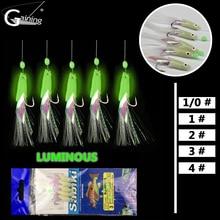 20Pack Sabiki Soft Fishing Hooks Rigs Mackerel Feathers Bass