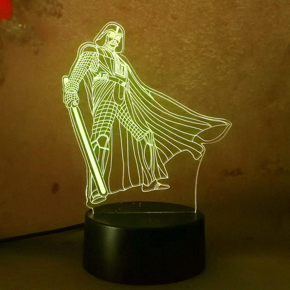 Star War Darth Vader figure 3D Led Nightlight for Children Touch senser USB Table Illusion Mood Dimming Lamp 7 Color Change Gift