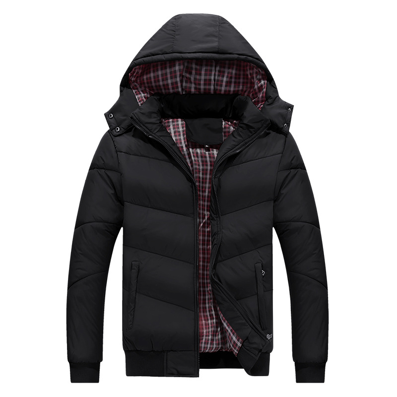 Detachable hat warm men   down   jacket 2018 fashion thickened warm men   down     coat   fur collar hoodie zip windproof winter jacket men