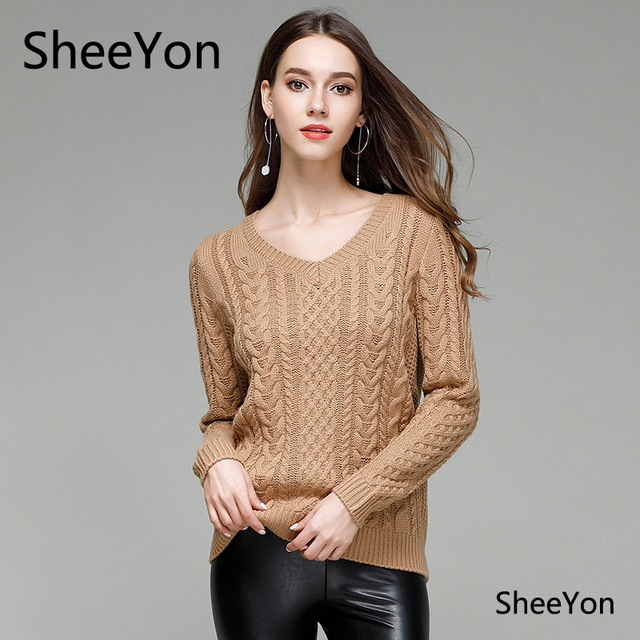 SheeYon Women's V Neck sweater knitted long sleeved hedging ...