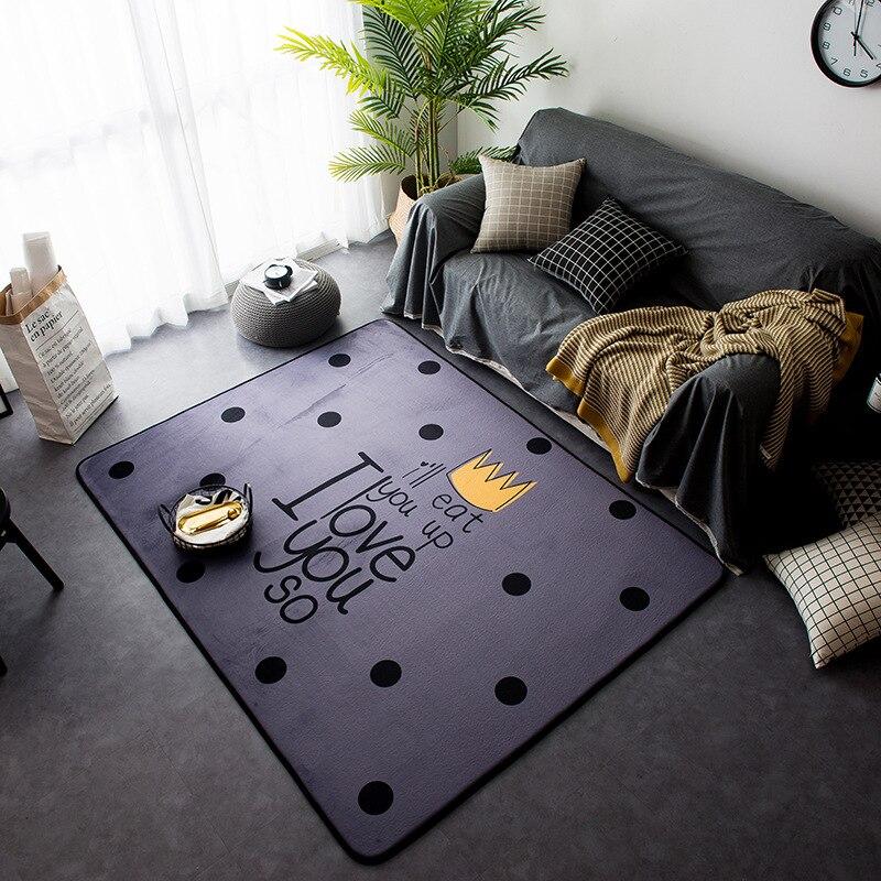Nouveau Style nordique décor flanelle velours motif de cerf grand salon plancher enfant ramper tapis de jeu tapis Table sont tapis tapis - 3