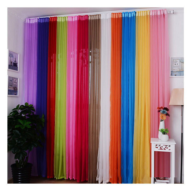 Superb 15 Colors Cheap Solid Tulle Window Curtains For Kitchen Door Living Room  Bedroom Sheer Voile Curtain