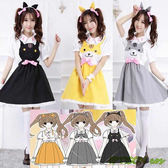 Women Cat Sweet Lolita Dress Game Cosplay Costume Girls ...