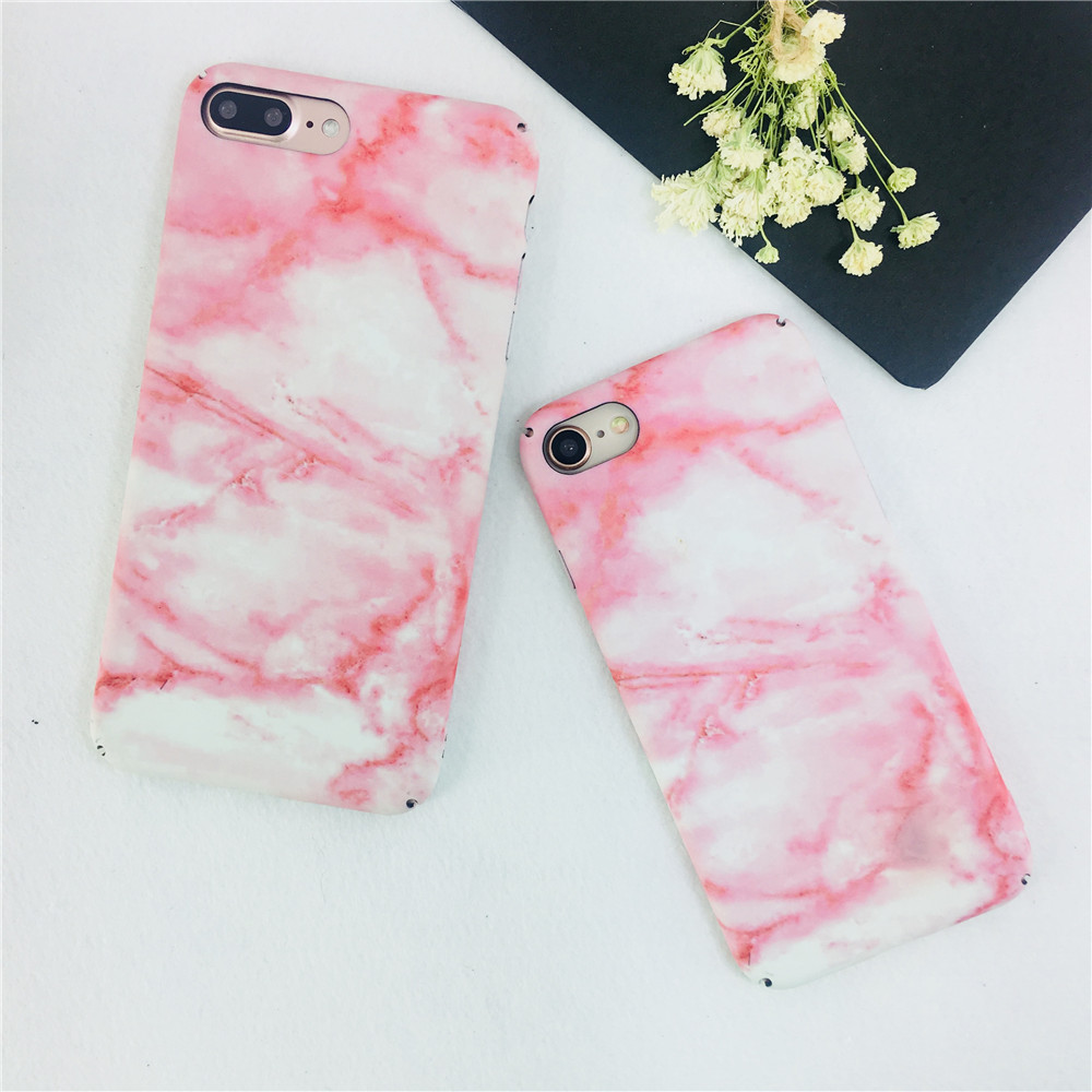 Fashion Pinky Color Marble Granite Stone Ultrathin Hard Phone Case For iPhone 7 Case Vintage Texture Pattern For iPhone 7 Plus