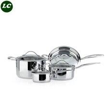 free shipping inox casseroles cookware 4 pots combination s80310100 fried pan stainless steel milk pot soup pot