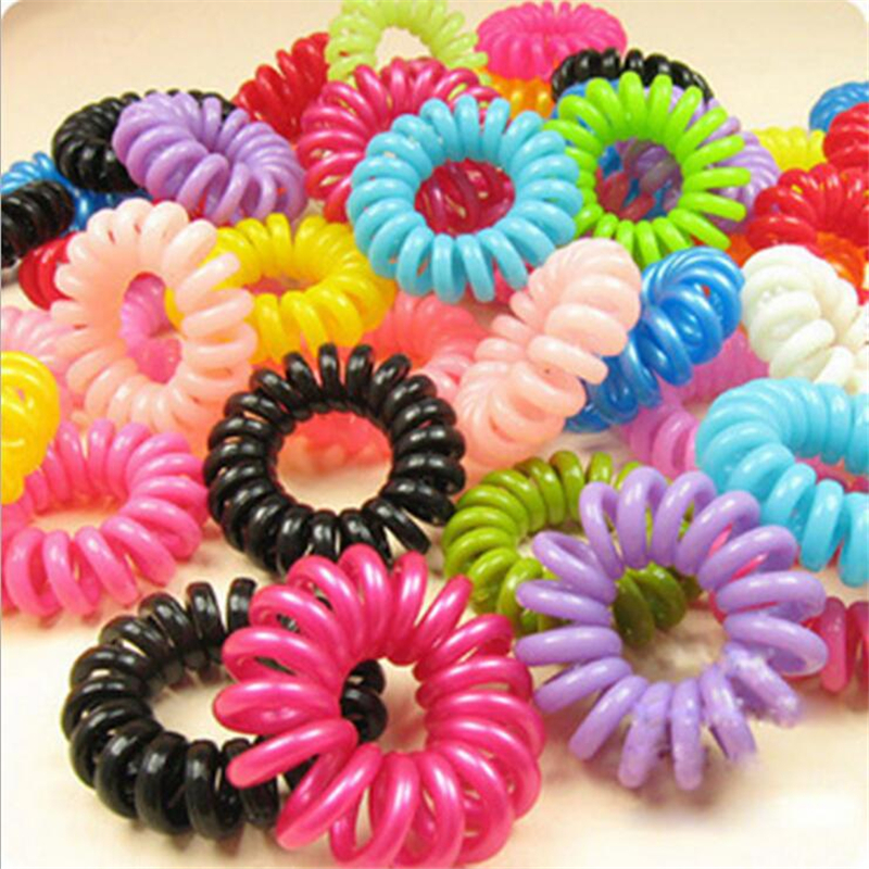 1000pcs/lot Telephone Wire Line Cord Invisi Traceless Hair Ring Gum Colored Elastic Hair Band For Girl Hair Scrunchy Childrens