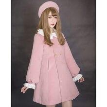 Милое пальто принцессы в стиле Лолиты; Долли Делли; зимнее пальто с рукавами-фонариками и листьями лотоса; Dolley-0012-4