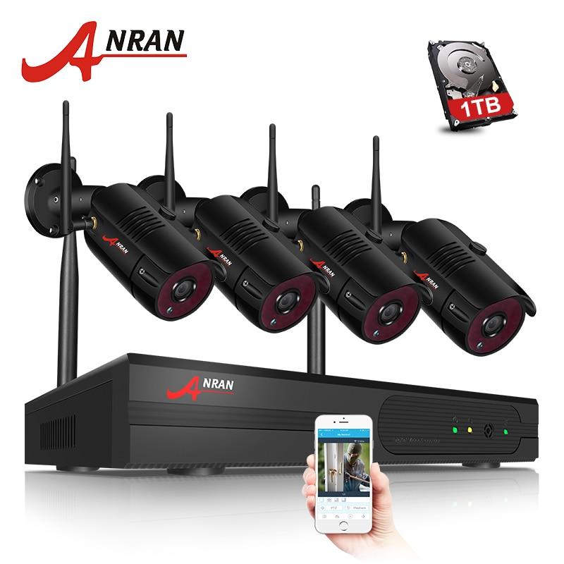 Kit CCTV Sistema de Câmera Wi-fi 1080P NVR ANRAN 4CH 1080P HD IP Câmera de Visão Noturna Ao Ar Livre Câmera de Segurança sistema