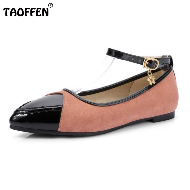 TAOFFEN 5 Colors Size 34-43 Simple Office Lady Flats Shoes Women Patchwork Ankle Strap Pointed Toe Flats Shoes Women Footwear rizabina concise women sneakers lady white shoes female butterfly cross strap flats shoes embroidery women footwear size 36 40