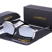 LMAOCLAN для женщин поляризационные солнцезащитные очки для Роскошные модные кошачий глаз Дамы Винтаж брендовая Дизайнерская обувь жен