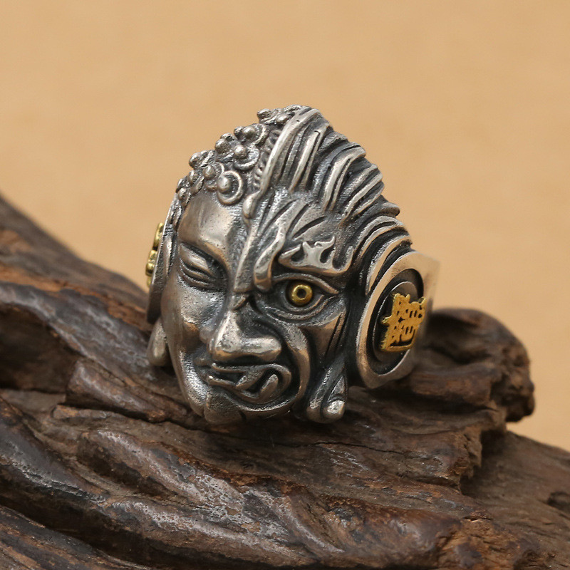 Gothic Silver 925 Thick Band Rings Men 15.5g Antique Thai Silver Real Sterling Silver Mens Jewelry Cool Punk Style Large Size solid silver 925 vajra pendant charms for necklace men real 925 sterling silver jewelry gothic punk style thai silver bijoux men