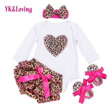 Newborn Baby Girl Clothes Set Long Sleeve Baby Bodysuits Cotton Infant YK&Loving Overall With Bow Bloomers PP Pants F3002