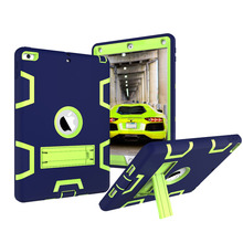 Fashion Armor 3 in 1 Shockproof full protection Hard Plastic with kickstand Case cover for Apple new ipad 9.7 2017 case fundas for apple new ipad 9 7 inch 2017 2018 case hybrid front back 360 full protection cover shockproof 3 layers built in kickstand