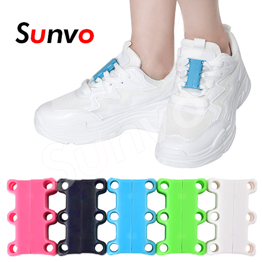 Sunvo Magnetic Shoelace Buckle Lazy Closures Lacet Chaussure Shoe Laces Strong Quick No to Tie lazy Shoe Laces for Men Women semi circle multicolour shoelace two tones cavans shoe laces elastic men s shoes lacet 110cm length 10 pairs on sale