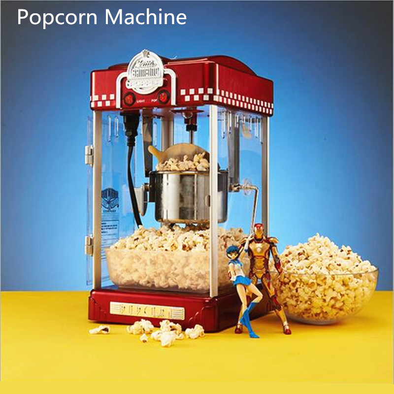 Electric American Style 220V Popcorn Machine Mini Commercial Automatic Hot Oil Popcorn Maker Stainless Steel Non-stick Pot pop 08 commercial electric popcorn machine popcorn maker for coffee shop popcorn making machine