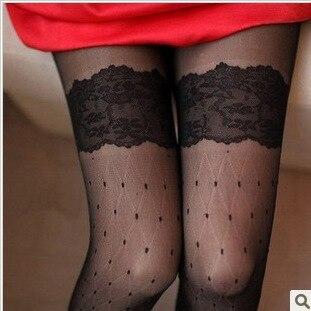 Jeseca зима осень женские сексуальные колготки сердце леопардовые точки кружевные ажурные колготки женские Чулочные изделия высокие шелковые чулки - Цвет: Lace black