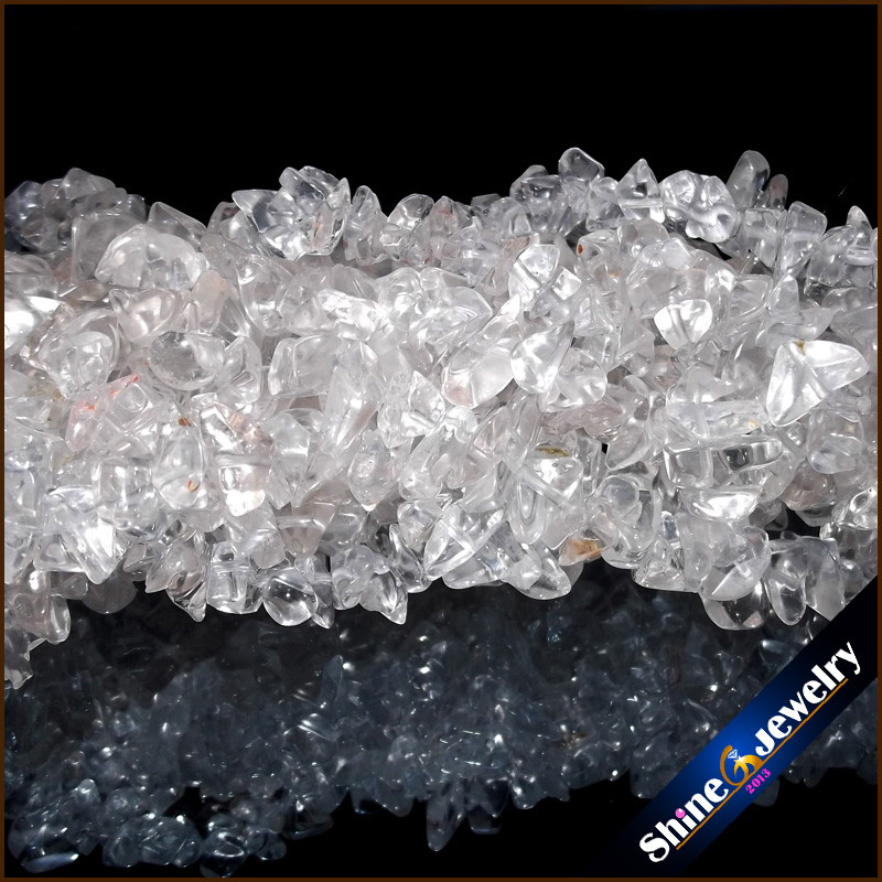 36 Strand 5-8mm Genuine Natural White Crystal Chip Gems Freeform Gravel Crystal Loose Beads Jewellery Making Material Stone