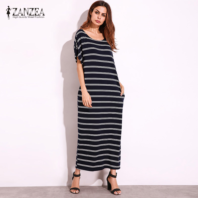 2017 ZANZEA Women Summer Striped Round Neck Casual Loose Maxi Dress Sexy Short Sleeve Pockets Long