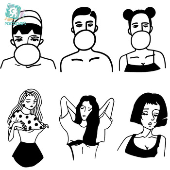 Rocooart CC4 6X6cm Little Vintage Old School Style Sexy Girls Women Black White Face Temporary Tattoo Sticker Body Art Fake Taty