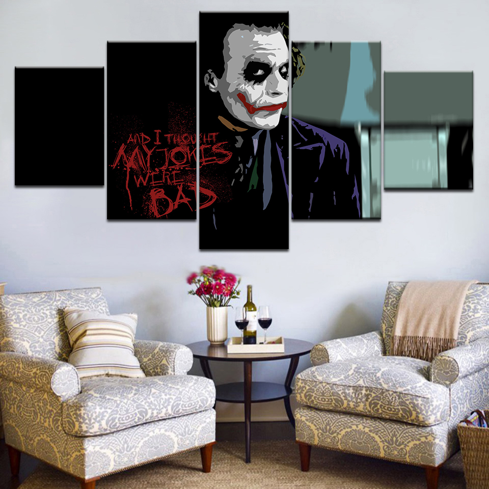 Clown Evil Man Modern 5Pcs Canvas Paintings High Quality wall art Decor Vintage Christmas Gift Modular Posters And Prints