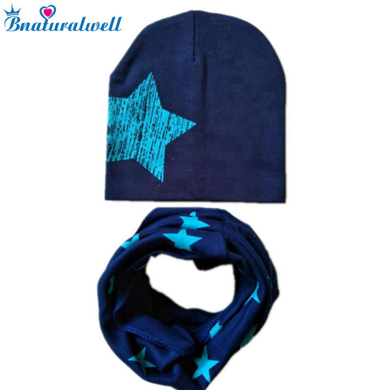 Bnaturalwell Baby cotton scarf+cap set Star spring warm Hat Children boys girls beanies & collars Kids Todder hats H060D ...