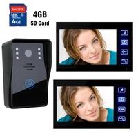 7 Inch LCD Touch record Monitor Video Door Phone Doorbell System 4GB SD Card Recording Video Intercom Kit IR Night vision Camera