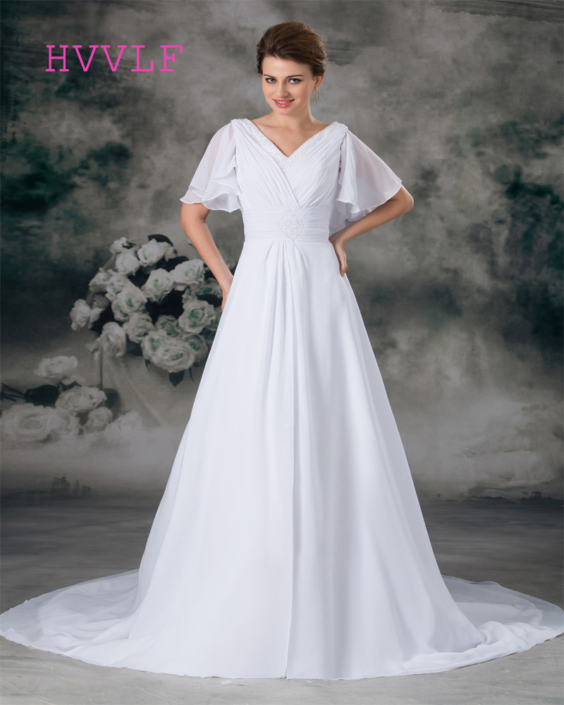 Beach 2017 Wedding Dresses A-line Short Sleeves Chiffon Beaded Cheap Boho Backless Wedding Gown Bridal Dresses Vestido De Noiva
