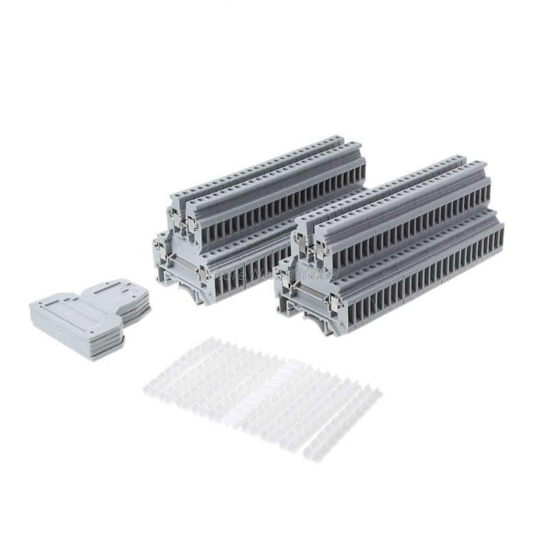 50 Pcs UKK3 DIN Rail Double Level Dual Row Terminal Block 500V 25A 28-12AWG Gray 5 pcs 600v 25a dual rows 10p covered barrier screw terminal block free shipping